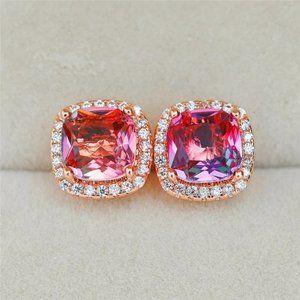 NEW Rose Gold Rainbow Diamond Halo Stud Earrings